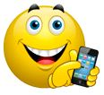 Smiley with smart phone
