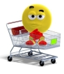 Smiley sitting in shopping cart
